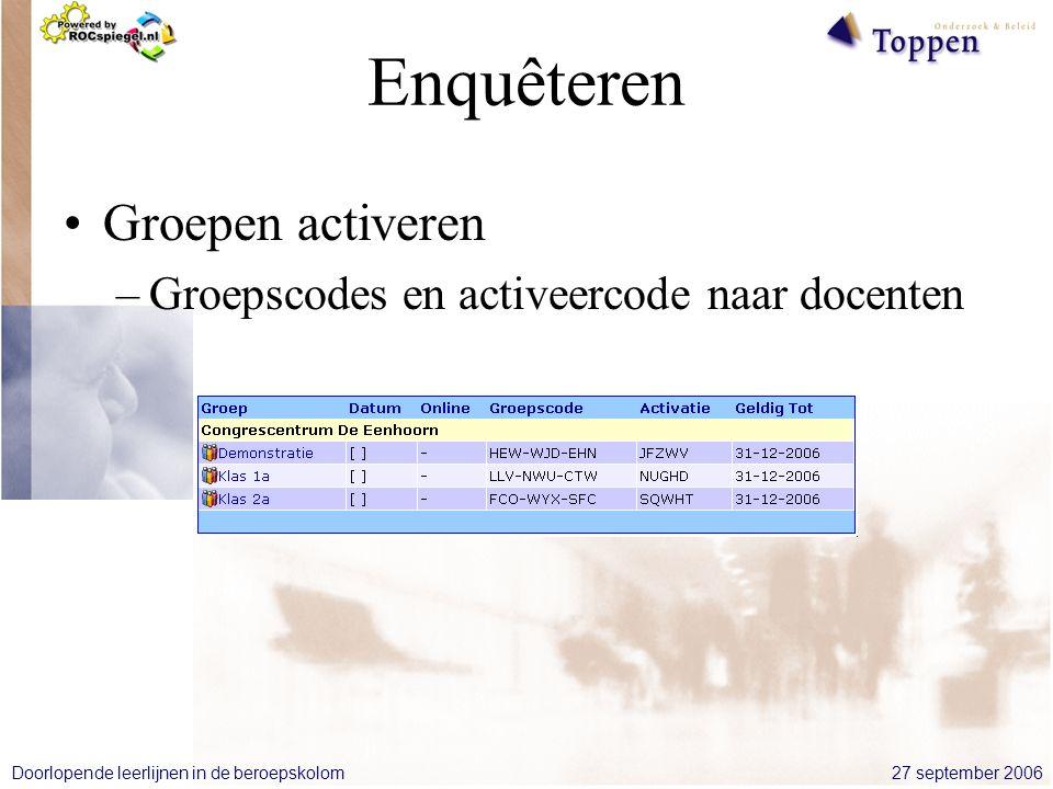 27 september 2006Doorlopende leerlijnen in de beroepskolom Enquêteren Groepen activeren –Groepscodes en activeercode naar docenten