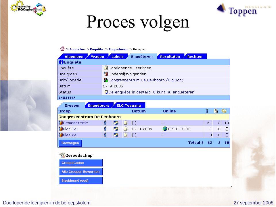 27 september 2006Doorlopende leerlijnen in de beroepskolom Proces volgen