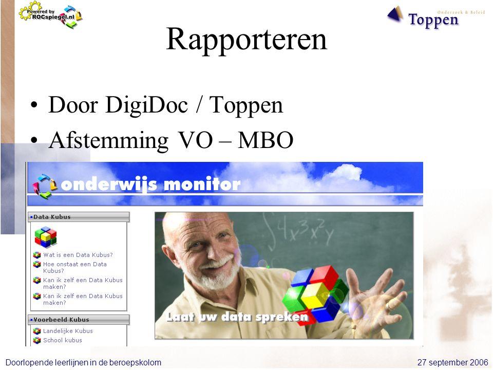 27 september 2006Doorlopende leerlijnen in de beroepskolom Rapporteren Door DigiDoc / Toppen Afstemming VO – MBO Cockpit