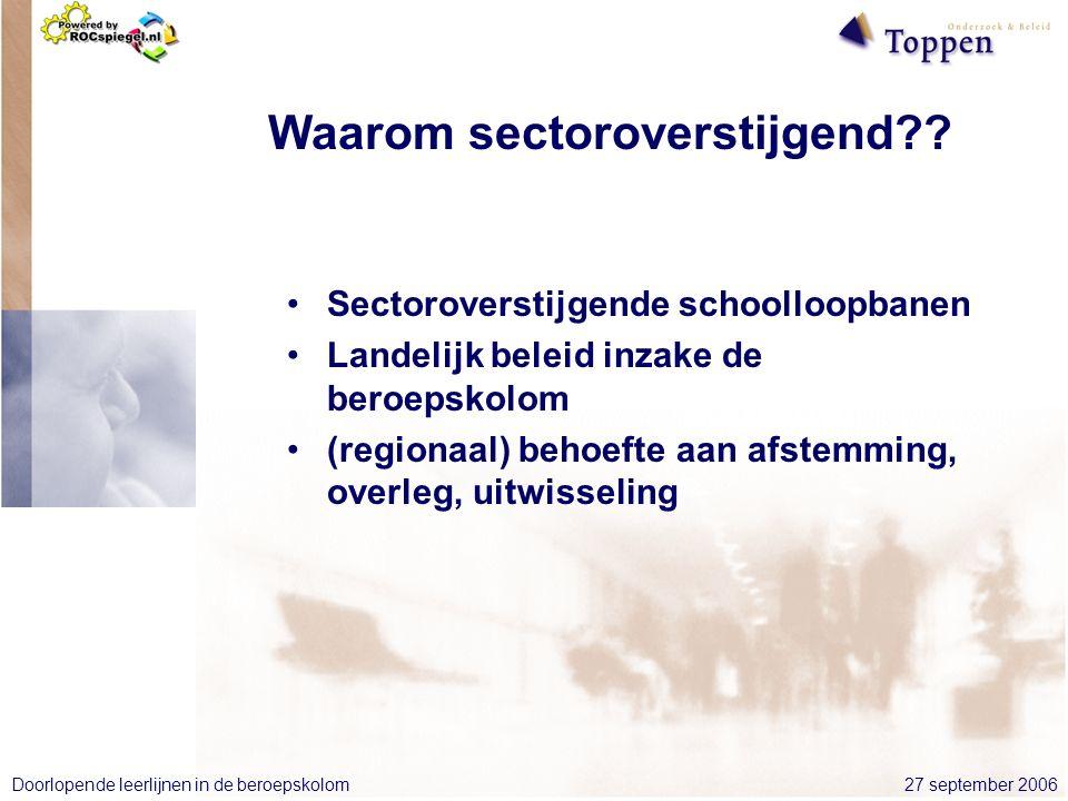 27 september 2006Doorlopende leerlijnen in de beroepskolom Waarom sectoroverstijgend .