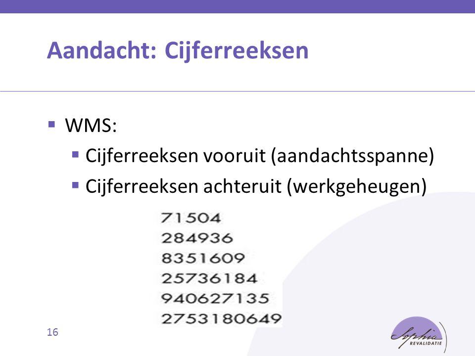 Aandacht: Cijferreeksen  WMS:  Cijferreeksen vooruit (aandachtsspanne)  Cijferreeksen achteruit (werkgeheugen) 16