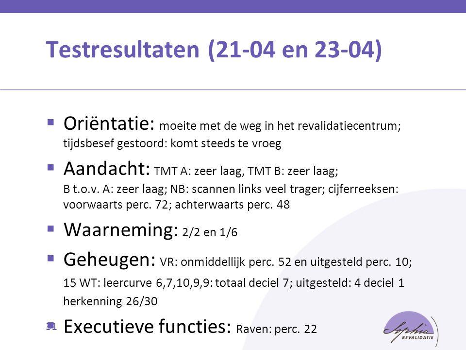 Testresultaten (21-04 en 23-04)  Oriëntatie: moeite met de weg in het revalidatiecentrum; tijdsbesef gestoord: komt steeds te vroeg  Aandacht: TMT A