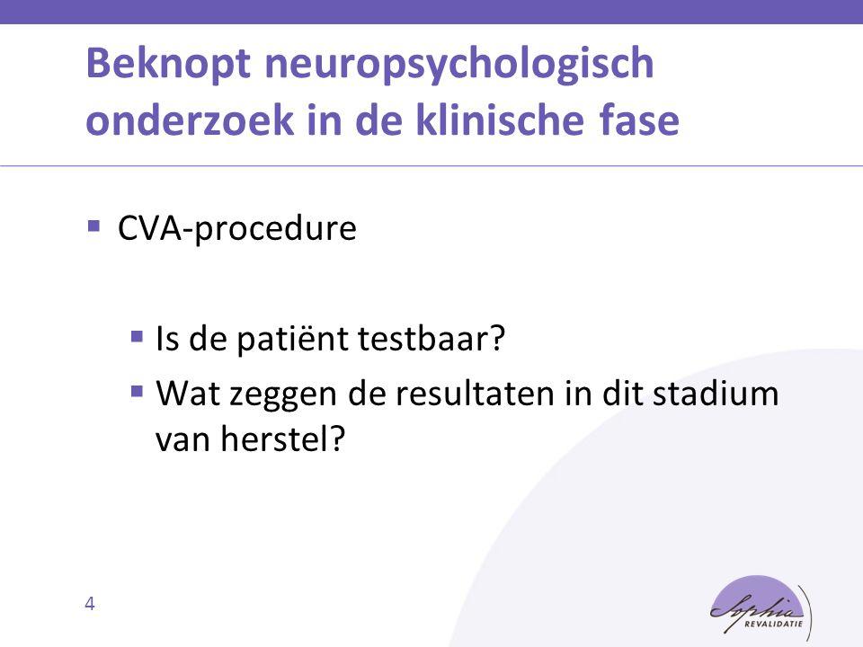 Beknopt neuropsychologisch onderzoek in de klinische fase  CVA-procedure  Is de patiënt testbaar?  Wat zeggen de resultaten in dit stadium van hers