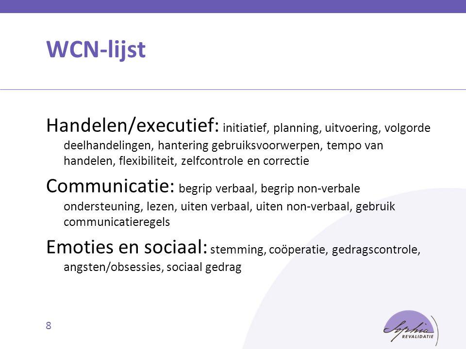 WCN-lijst Handelen/executief: initiatief, planning, uitvoering, volgorde deelhandelingen, hantering gebruiksvoorwerpen, tempo van handelen, flexibilit