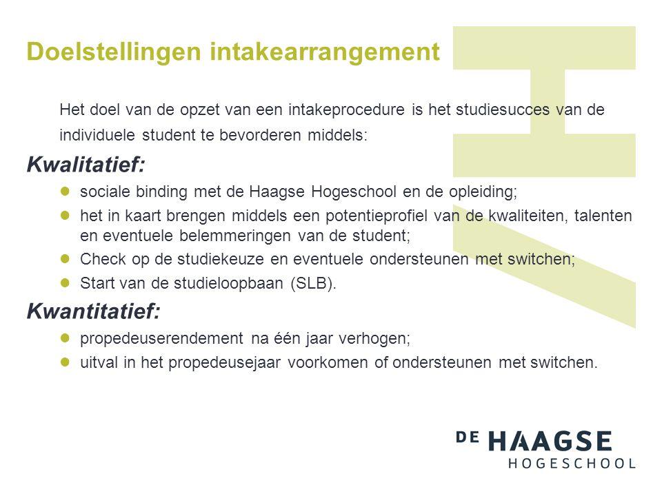 Doelstellingen intakearrangement Het doel van de opzet van een intakeprocedure is het studiesucces van de individuele student te bevorderen middels: K
