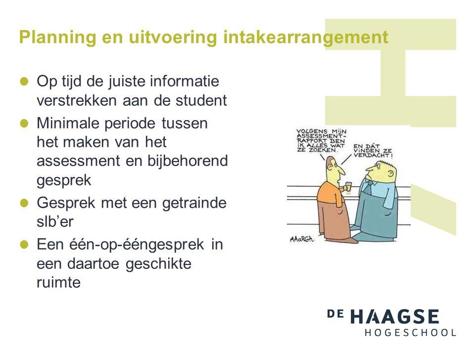 Planning en uitvoering intakearrangement Op tijd de juiste informatie verstrekken aan de student Minimale periode tussen het maken van het assessment