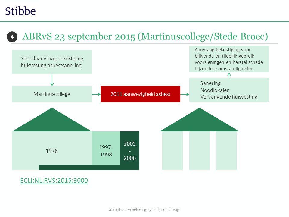 ABRvS 23 september 2015 (Martinuscollege/Stede Broec) 4 ECLI:NL:RVS:2015:3000 Spoedaanvraag bekostiging huisvesting asbestsanering 1976 1997- 1998 200