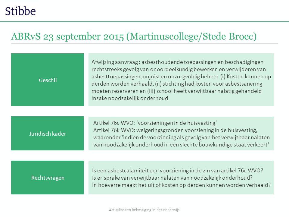 ABRvS 23 september 2015 (Martinuscollege/Stede Broec) Artikel 76c WVO: 'voorzieningen in de huisvesting' Artikel 76k WVO: weigeringsgronden voorzienin