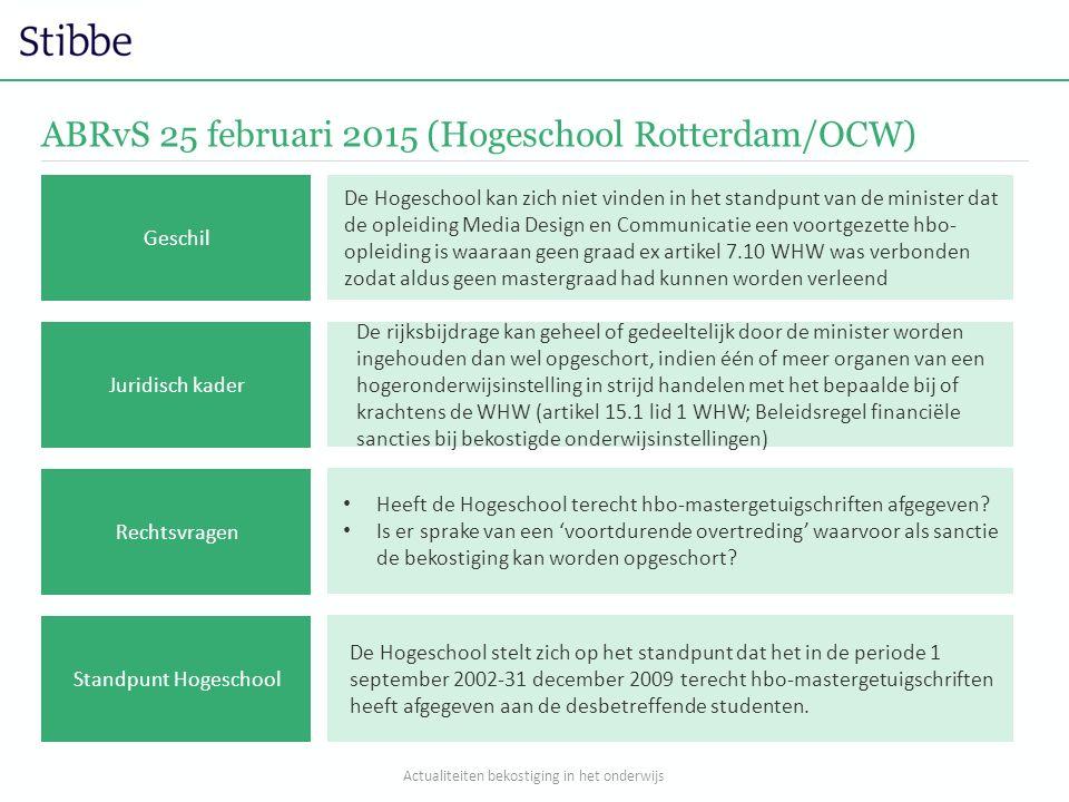 ABRvS 25 februari 2015 (Hogeschool Rotterdam/OCW) De rijksbijdrage kan geheel of gedeeltelijk door de minister worden ingehouden dan wel opgeschort, i