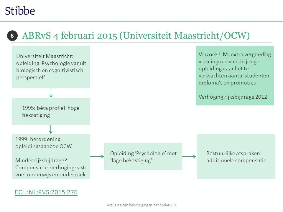 ABRvS 4 februari 2015 (Universiteit Maastricht/OCW) 6 Universiteit Maastricht: opleiding 'Psychologie vanuit biologisch en cognitivistisch perspectief