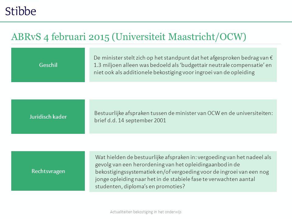 ABRvS 4 februari 2015 (Universiteit Maastricht/OCW) Wat hielden de bestuurlijke afspraken in: vergoeding van het nadeel als gevolg van een herordening van het opleidingaanbod in de bekostigingssystematiek en/of vergoeding voor de ingroei van een nog jonge opleiding naar het in de stabiele fase te verwachten aantal studenten, diploma's en promoties.