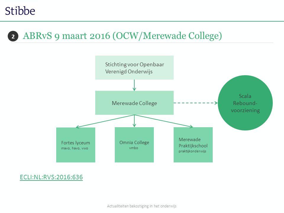 ABRvS 9 maart 2016 (OCW/Merewade College) Merewade College Stichting voor Openbaar Verenigd Onderwijs Omnia College vmbo Merewade Praktijkschool prakt
