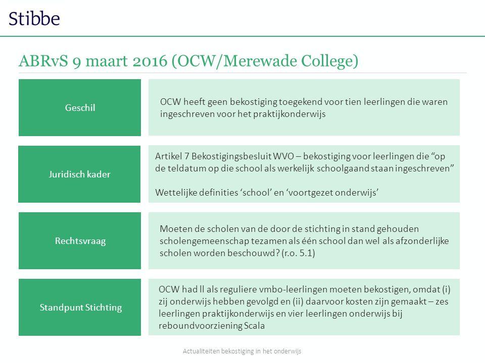 ABRvS 9 maart 2016 (OCW/Merewade College) OCW heeft geen bekostiging toegekend voor tien leerlingen die waren ingeschreven voor het praktijkonderwijs