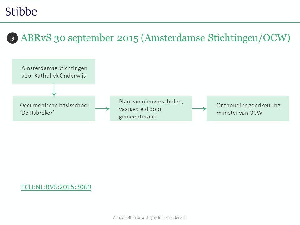 ABRvS 30 september 2015 (Amsterdamse Stichtingen/OCW) 3 Amsterdamse Stichtingen voor Katholiek Onderwijs Oecumenische basisschool 'De IJsbreker' Plan van nieuwe scholen, vastgesteld door gemeenteraad Onthouding goedkeuring minister van OCW ECLI:NL:RVS:2015:3069 Actualiteiten bekostiging in het onderwijs