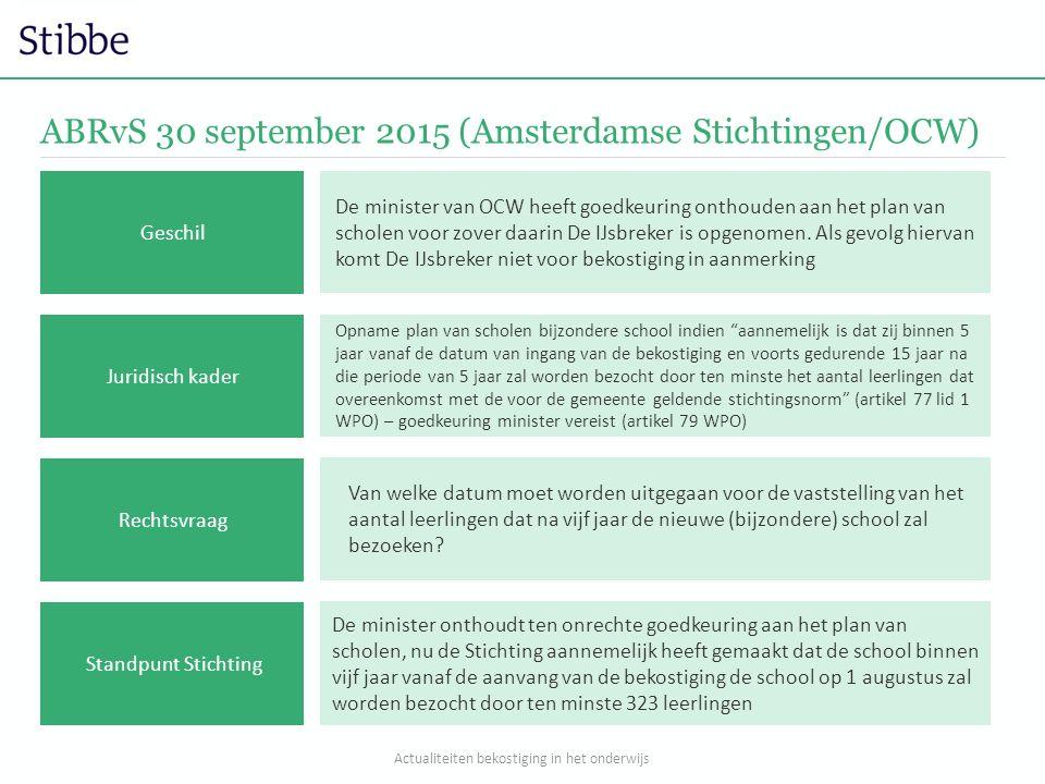 ABRvS 30 september 2015 (Amsterdamse Stichtingen/OCW) Opname plan van scholen bijzondere school indien aannemelijk is dat zij binnen 5 jaar vanaf de datum van ingang van de bekostiging en voorts gedurende 15 jaar na die periode van 5 jaar zal worden bezocht door ten minste het aantal leerlingen dat overeenkomst met de voor de gemeente geldende stichtingsnorm (artikel 77 lid 1 WPO) – goedkeuring minister vereist (artikel 79 WPO) Van welke datum moet worden uitgegaan voor de vaststelling van het aantal leerlingen dat na vijf jaar de nieuwe (bijzondere) school zal bezoeken.