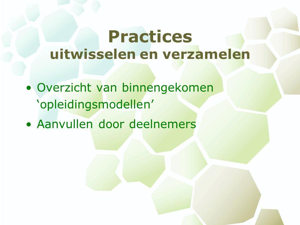 Practices uitwisselen en verzamelen Overzicht van binnengekomen 'opleidingsmodellen' Aanvullen door deelnemers