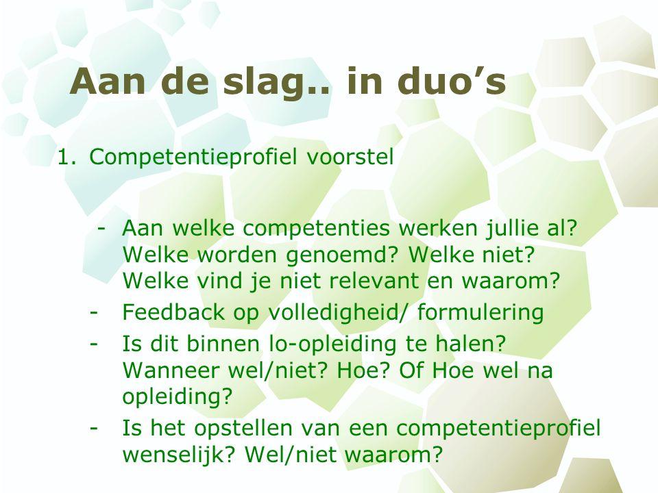 Aan de slag.. in duo's 1.Competentieprofiel voorstel - Aan welke competenties werken jullie al.
