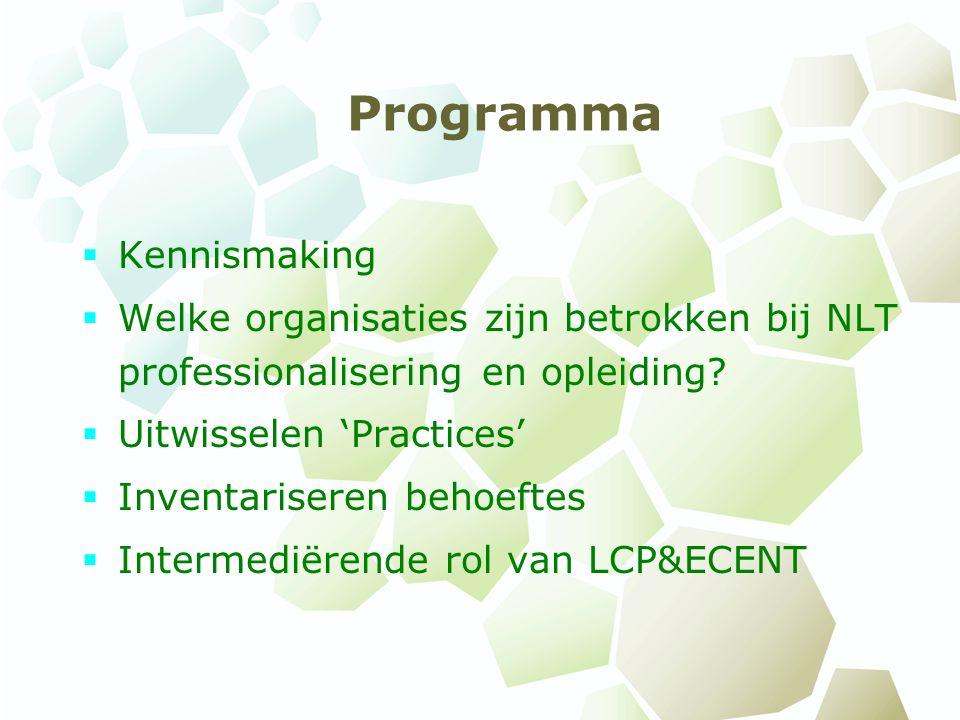 Programma  Kennismaking  Welke organisaties zijn betrokken bij NLT professionalisering en opleiding.