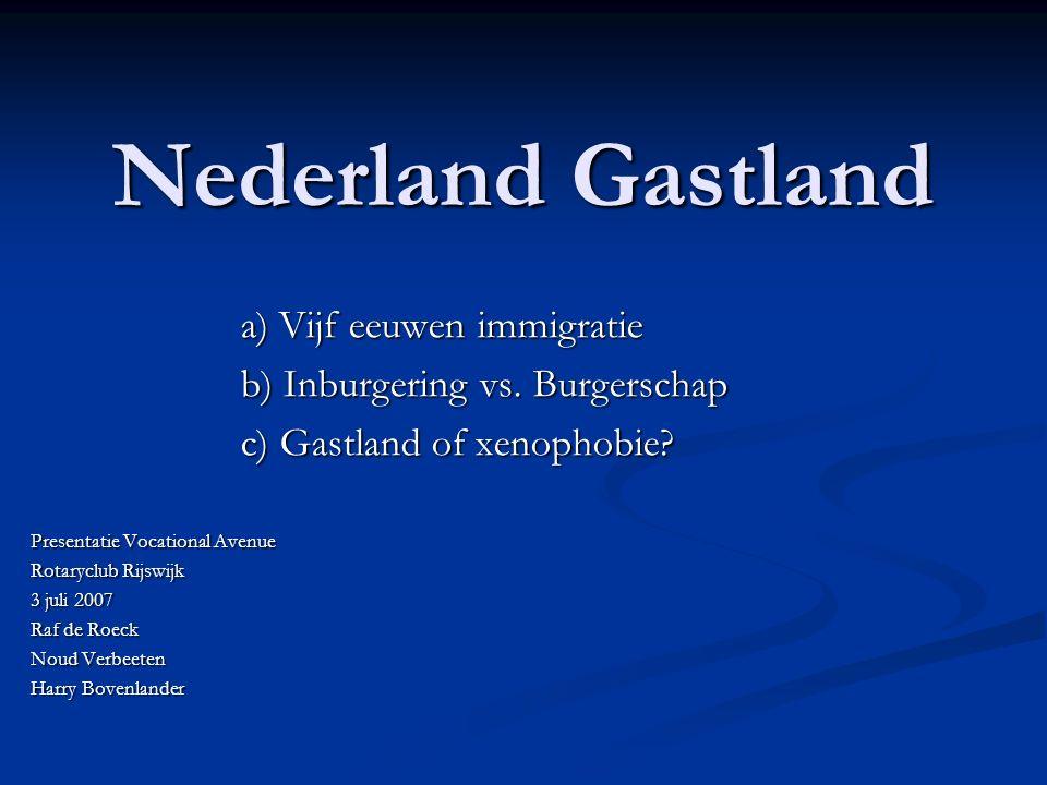 Nederland Gastland a) Vijf eeuwen immigratie b) Inburgering vs.