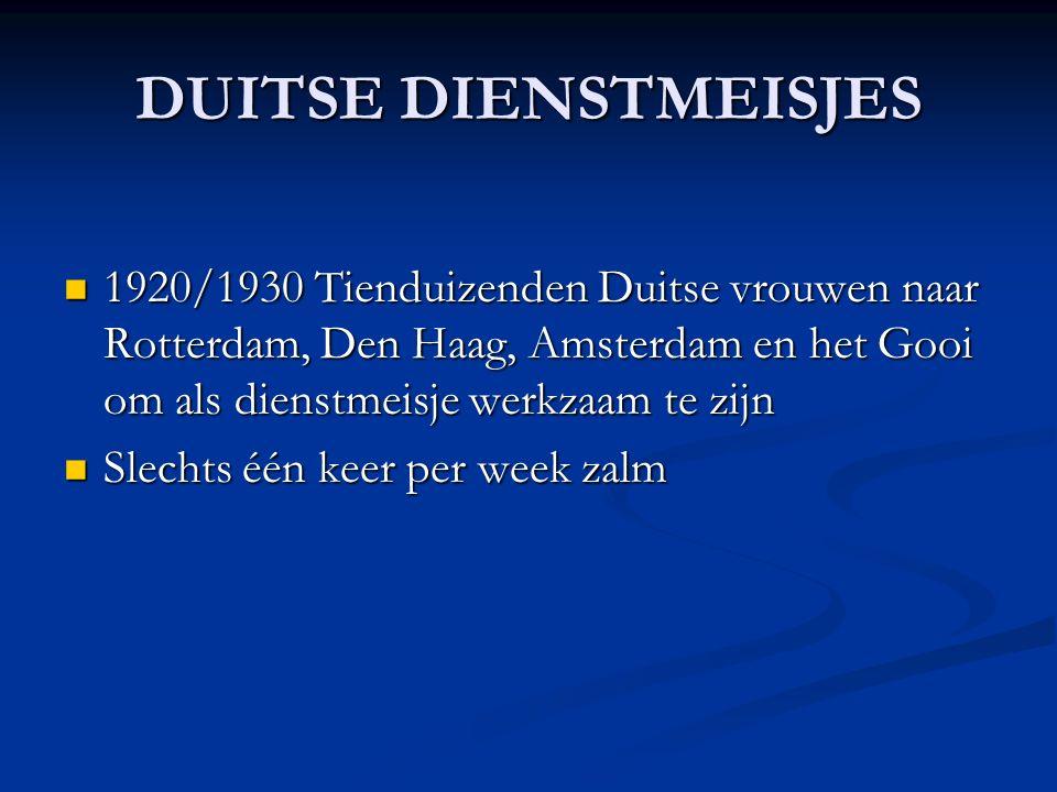 DUITSE DIENSTMEISJES 1920/1930 Tienduizenden Duitse vrouwen naar Rotterdam, Den Haag, Amsterdam en het Gooi om als dienstmeisje werkzaam te zijn 1920/1930 Tienduizenden Duitse vrouwen naar Rotterdam, Den Haag, Amsterdam en het Gooi om als dienstmeisje werkzaam te zijn Slechts één keer per week zalm Slechts één keer per week zalm