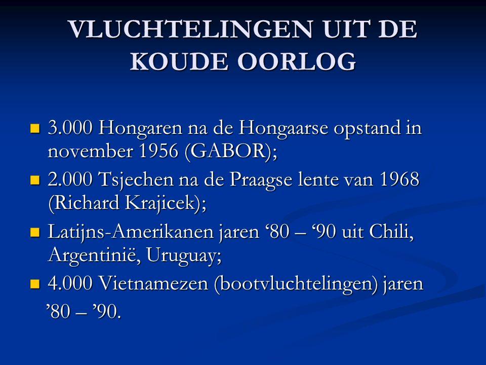 VLUCHTELINGEN UIT DE KOUDE OORLOG 3.000 Hongaren na de Hongaarse opstand in november 1956 (GABOR); 3.000 Hongaren na de Hongaarse opstand in november 1956 (GABOR); 2.000 Tsjechen na de Praagse lente van 1968 (Richard Krajicek); 2.000 Tsjechen na de Praagse lente van 1968 (Richard Krajicek); Latijns-Amerikanen jaren '80 – '90 uit Chili, Argentinië, Uruguay; Latijns-Amerikanen jaren '80 – '90 uit Chili, Argentinië, Uruguay; 4.000 Vietnamezen (bootvluchtelingen) jaren 4.000 Vietnamezen (bootvluchtelingen) jaren '80 – '90.