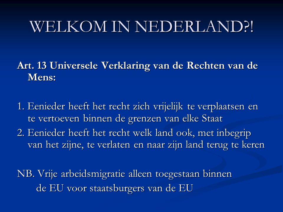 WELKOM IN NEDERLAND . Art. 13 Universele Verklaring van de Rechten van de Mens: 1.