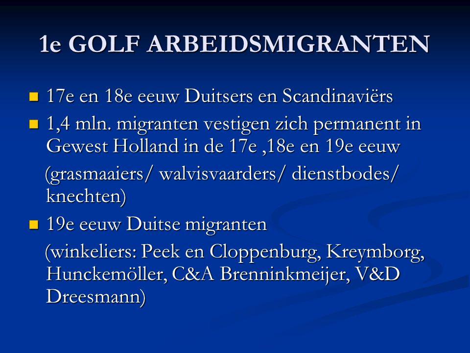 1e GOLF ARBEIDSMIGRANTEN 17e en 18e eeuw Duitsers en Scandinaviërs 17e en 18e eeuw Duitsers en Scandinaviërs 1,4 mln.