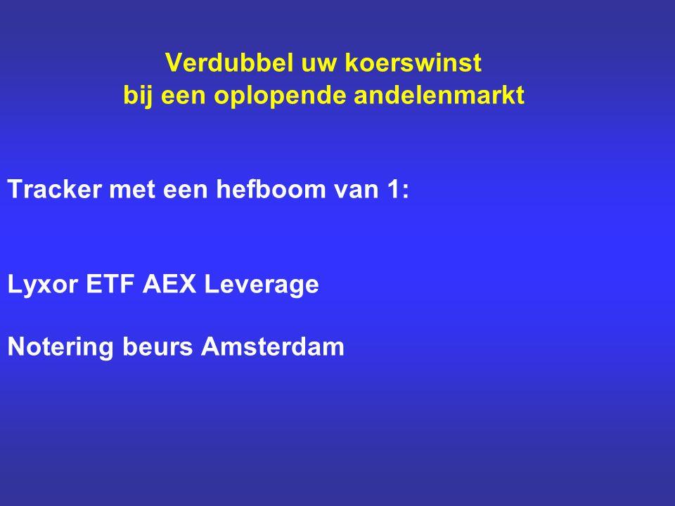 Verdubbel uw koerswinst bij een oplopende andelenmarkt Tracker met een hefboom van 1: Lyxor ETF AEX Leverage Notering beurs Amsterdam