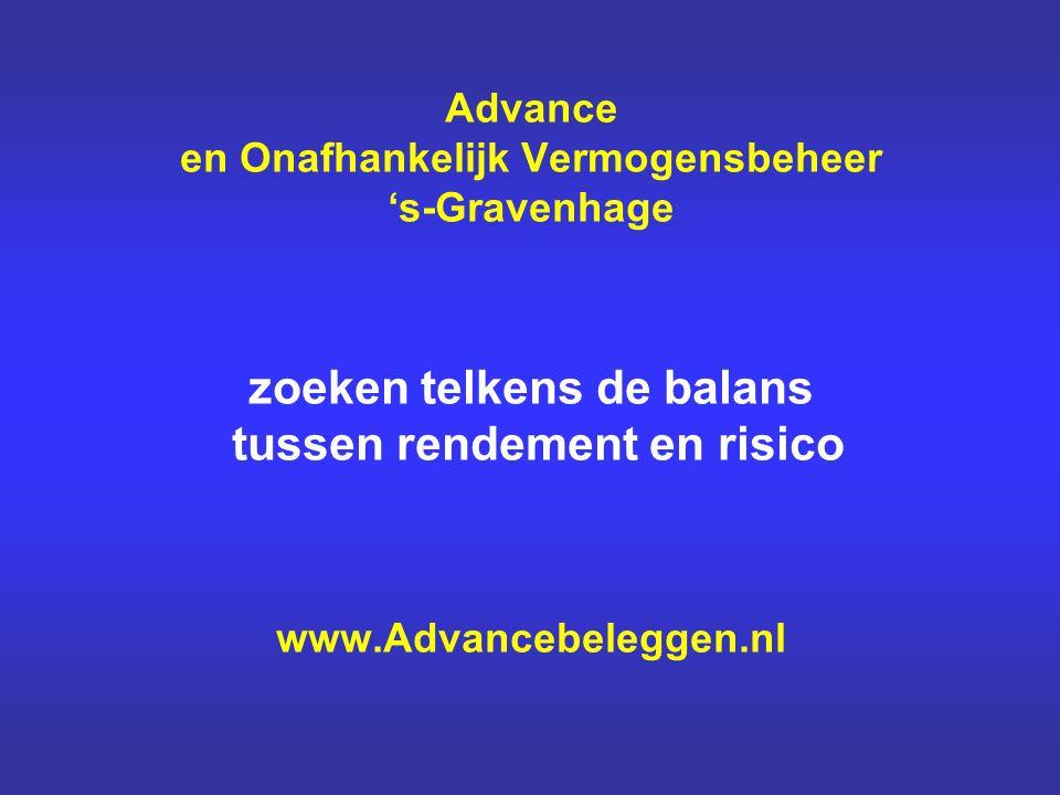 Advance en Onafhankelijk Vermogensbeheer 's-Gravenhage zoeken telkens de balans tussen rendement en risico www.Advancebeleggen.nl