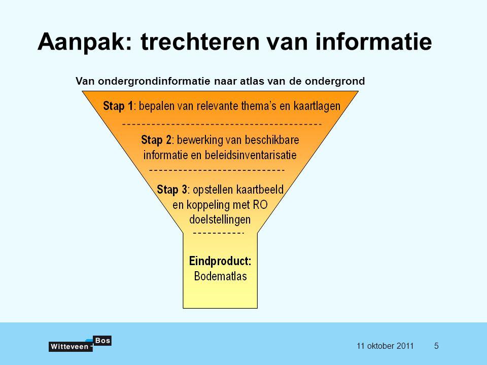 511 oktober 2011 Aanpak: trechteren van informatie Van ondergrondinformatie naar atlas van de ondergrond