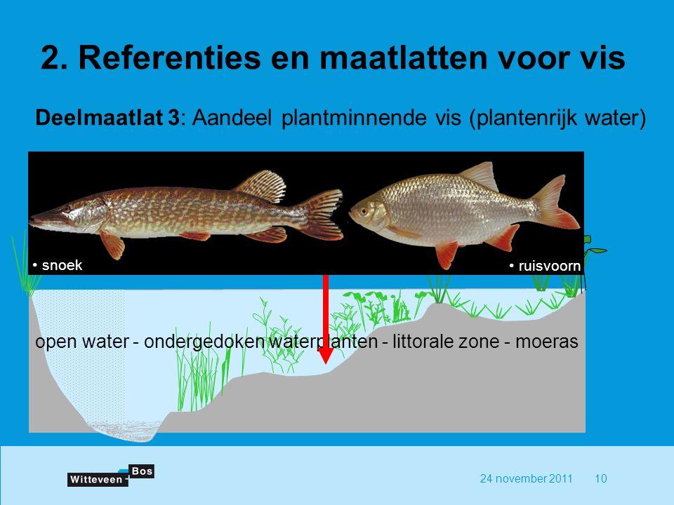 24 november 201110 Deelmaatlat 3: Aandeel plantminnende vis (plantenrijk water) open water - ondergedoken waterplanten - littorale zone - moeras ruisvoorn snoek 2.