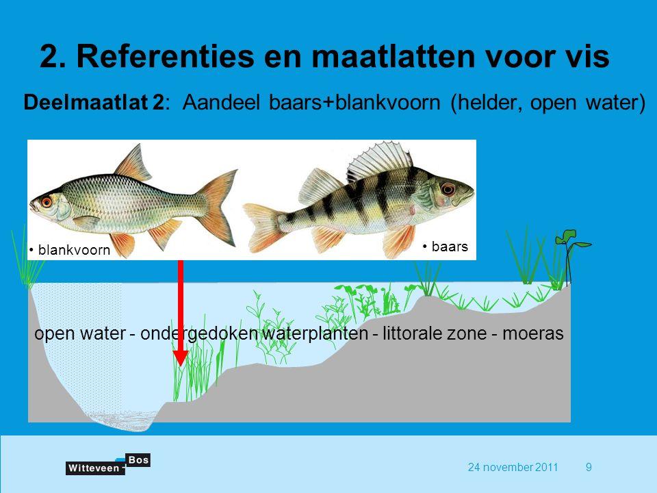 24 november 20119 Deelmaatlat 2: Aandeel baars+blankvoorn (helder, open water) open water - ondergedoken waterplanten - littorale zone - moeras blankvoorn baars 2.