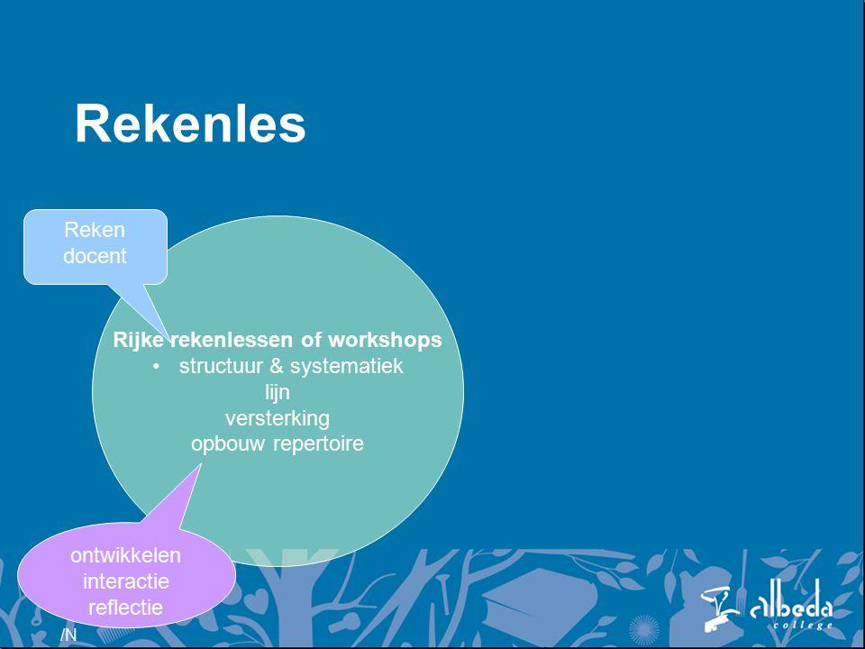 /N Rijke rekenlessen of workshops structuur & systematiek lijn versterking opbouw repertoire Reken docent ontwikkelen interactie reflectie Rekenles