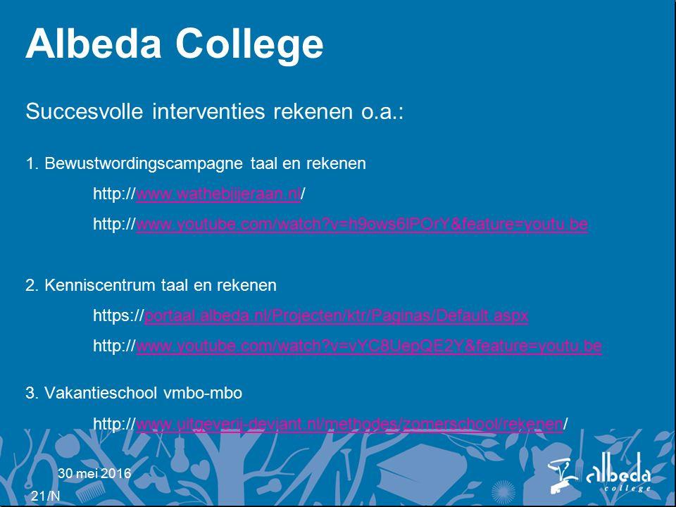 /N Albeda College Succesvolle interventies rekenen o.a.: 1.