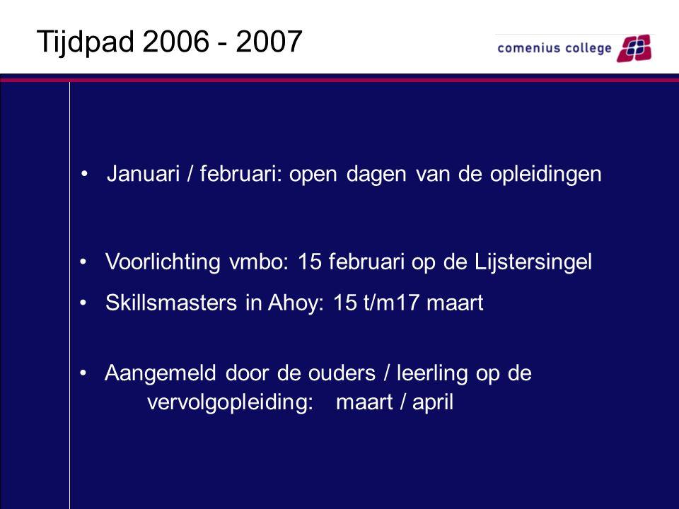 Januari / februari: open dagen van de opleidingen Voorlichting vmbo: 15 februari op de Lijstersingel Skillsmasters in Ahoy: 15 t/m17 maart Aangemeld d
