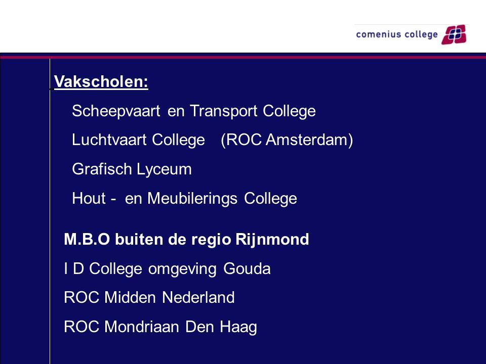 Vakscholen: Scheepvaart en Transport College Luchtvaart College (ROC Amsterdam) Grafisch Lyceum Hout - en Meubilerings College M.B.O buiten de regio R