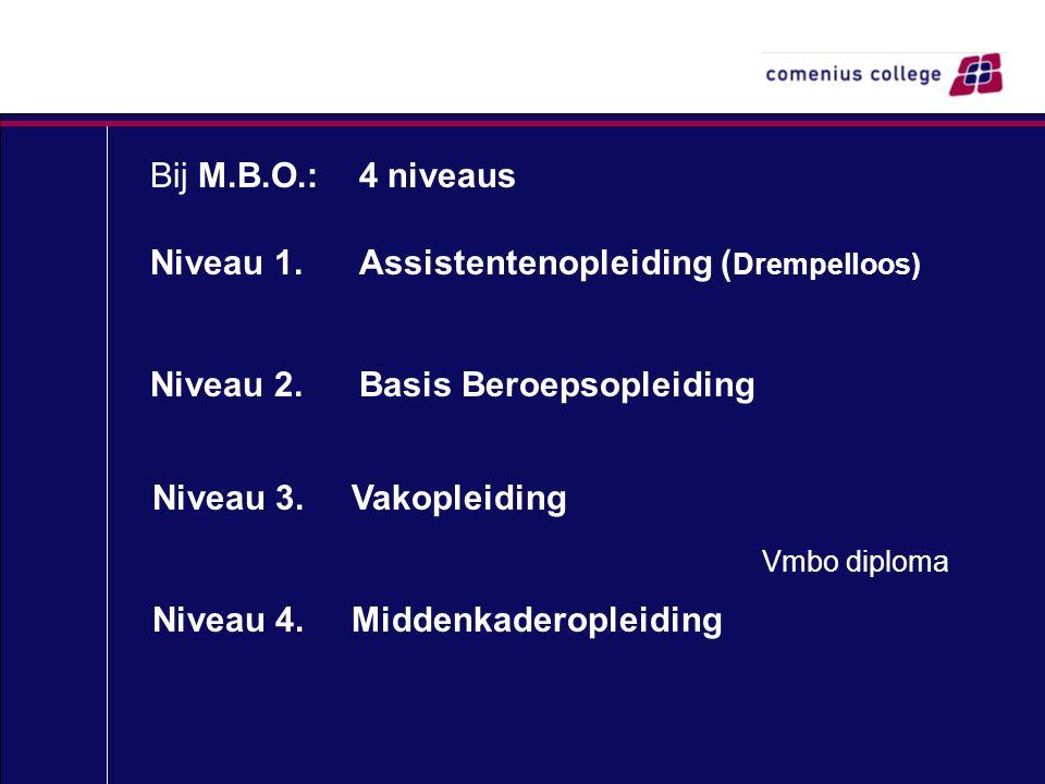 Bij M.B.O.: 4 niveaus Niveau 1.Assistentenopleiding ( Drempelloos) Niveau 2.Basis Beroepsopleiding Niveau 3. Vakopleiding Niveau 4. Middenkaderopleidi