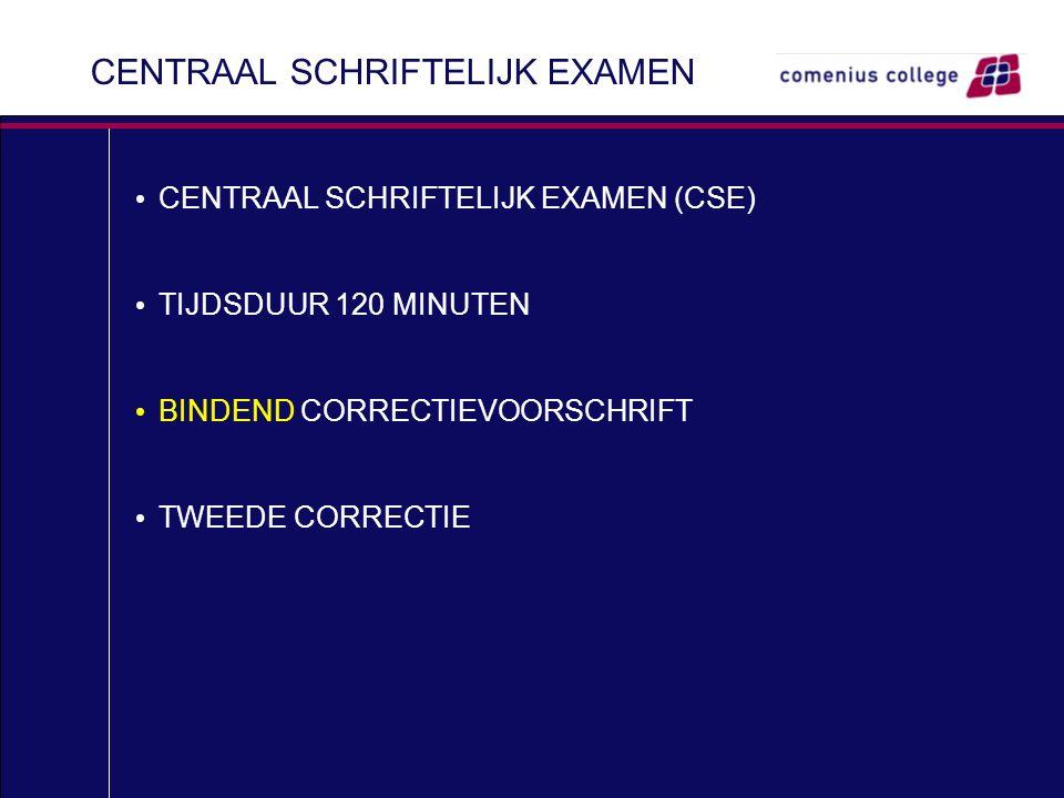 CENTRAAL SCHRIFTELIJK EXAMEN CENTRAAL SCHRIFTELIJK EXAMEN (CSE) TIJDSDUUR 120 MINUTEN BINDEND CORRECTIEVOORSCHRIFT TWEEDE CORRECTIE