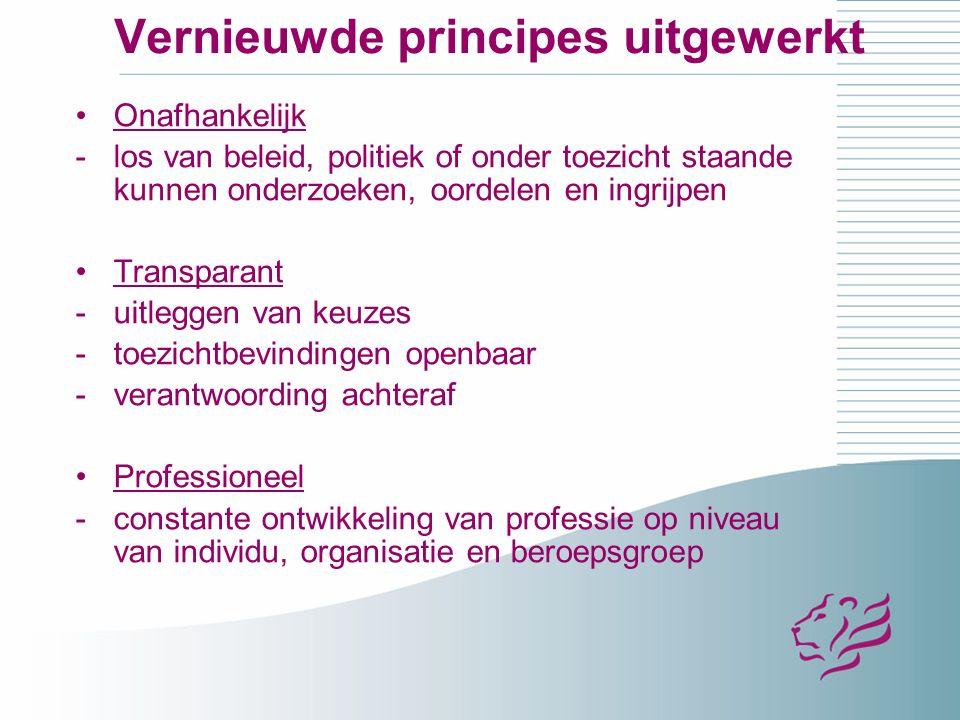 Vernieuwde principes uitgewerkt Onafhankelijk -los van beleid, politiek of onder toezicht staande kunnen onderzoeken, oordelen en ingrijpen Transparant -uitleggen van keuzes -toezichtbevindingen openbaar -verantwoording achteraf Professioneel -constante ontwikkeling van professie op niveau van individu, organisatie en beroepsgroep