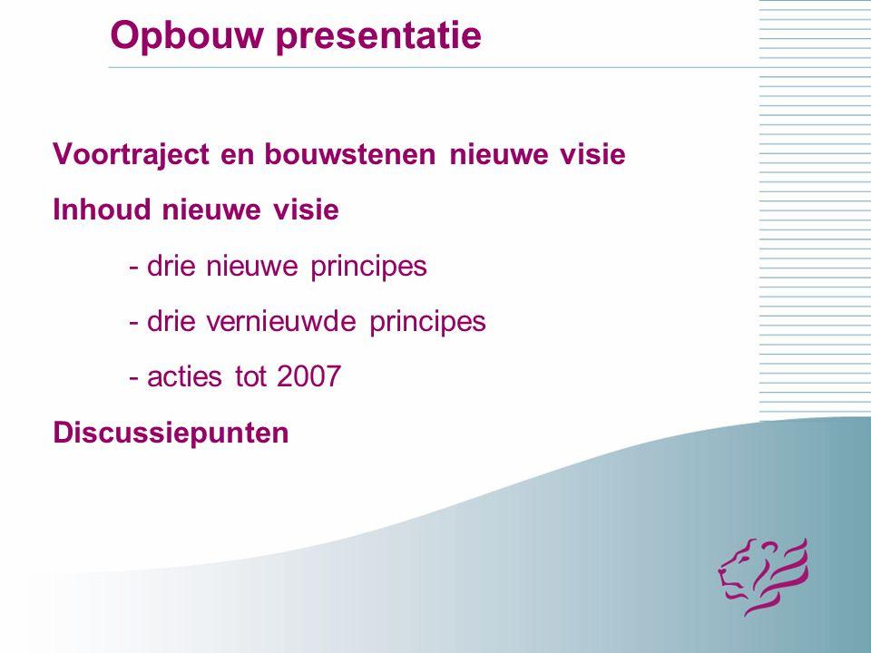 Opbouw presentatie Voortraject en bouwstenen nieuwe visie Inhoud nieuwe visie - drie nieuwe principes - drie vernieuwde principes - acties tot 2007 Discussiepunten