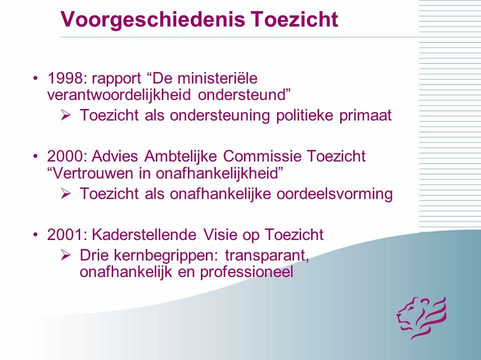 Voorgeschiedenis: Ambtelijke Commissie Toezicht II 2001: toetsen van toezichtarrangementen met checklist toezicht op 3 principes van KVoT Ambtelijke Commissie Toezicht II o.l.v.