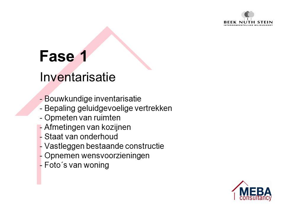 Fase 1 Inventarisatie - Bouwkundige inventarisatie - Bepaling geluidgevoelige vertrekken - Opmeten van ruimten - Afmetingen van kozijnen - Staat van onderhoud - Vastleggen bestaande constructie - Opnemen wensvoorzieningen - Foto´s van woning