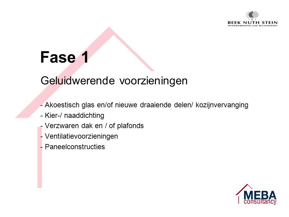 Fase 1 Geluidwerende voorzieningen - Akoestisch glas en/of nieuwe draaiende delen/ kozijnvervanging - Kier-/ naaddichting - Verzwaren dak en / of plafonds - Ventilatievoorzieningen - Paneelconstructies