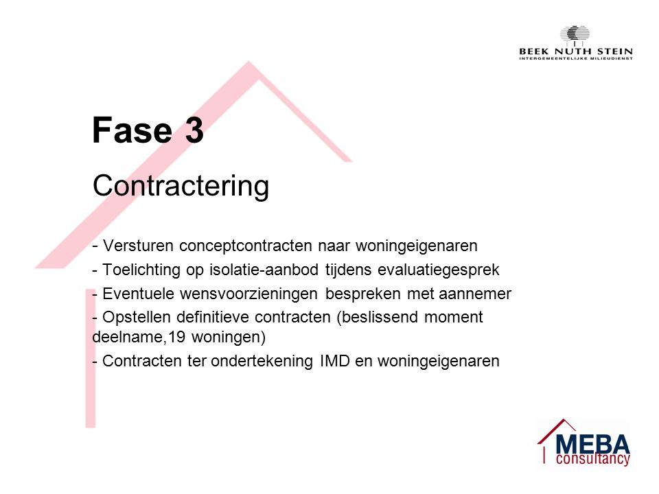 Fase 3 Contractering - Versturen conceptcontracten naar woningeigenaren - Toelichting op isolatie-aanbod tijdens evaluatiegesprek - Eventuele wensvoorzieningen bespreken met aannemer - Opstellen definitieve contracten (beslissend moment deelname,19 woningen) - Contracten ter ondertekening IMD en woningeigenaren