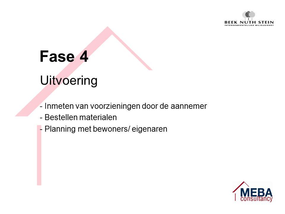 Fase 4 Uitvoering - Inmeten van voorzieningen door de aannemer - Bestellen materialen - Planning met bewoners/ eigenaren