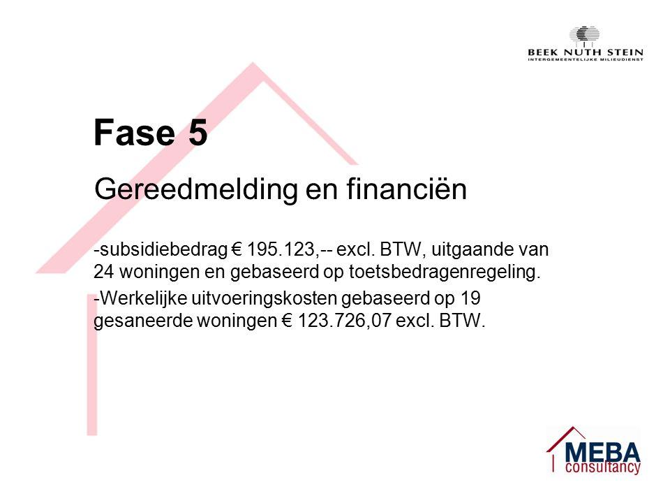 Fase 5 Gereedmelding en financiën -subsidiebedrag € 195.123,-- excl.