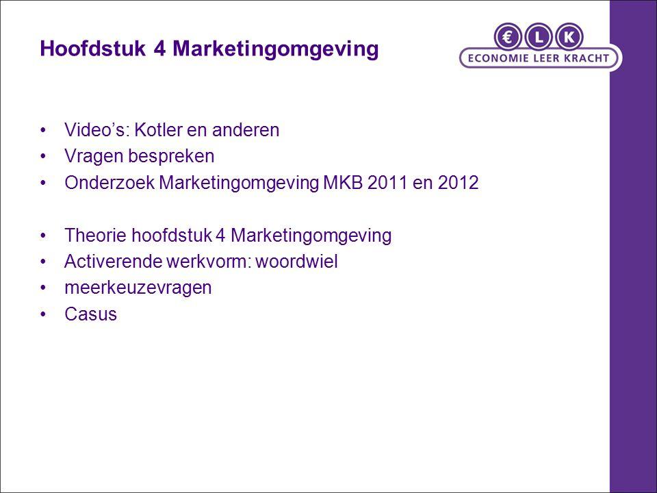 Hoofdstuk 4 Marketingomgeving Video's: Kotler en anderen Vragen bespreken Onderzoek Marketingomgeving MKB 2011 en 2012 Theorie hoofdstuk 4 Marketingomgeving Activerende werkvorm: woordwiel meerkeuzevragen Casus