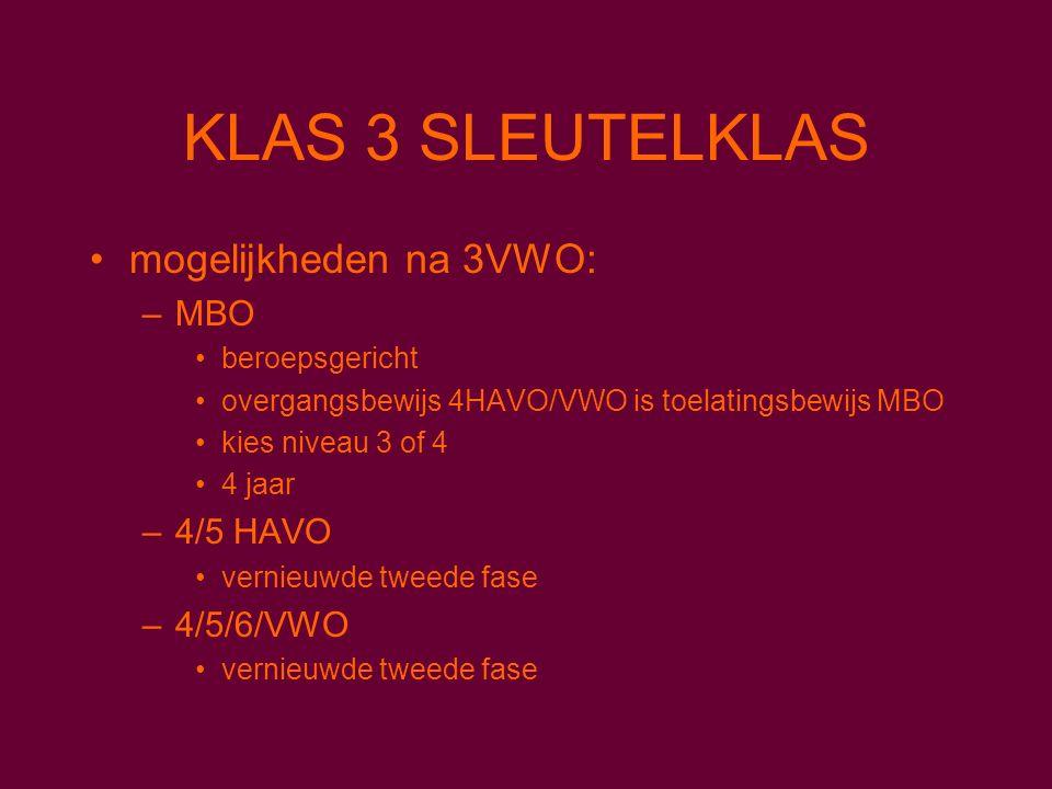 mogelijkheden na 3VWO: –MBO beroepsgericht overgangsbewijs 4HAVO/VWO is toelatingsbewijs MBO kies niveau 3 of 4 4 jaar –4/5 HAVO vernieuwde tweede fase –4/5/6/VWO vernieuwde tweede fase KLAS 3 SLEUTELKLAS