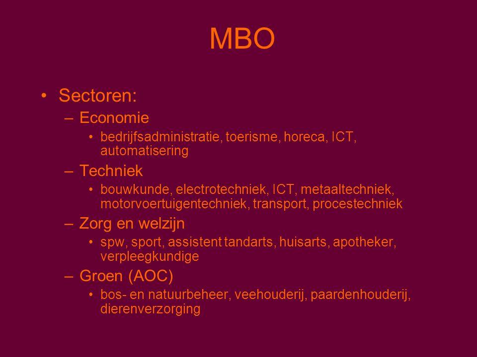 MBO Sectoren: –Economie bedrijfsadministratie, toerisme, horeca, ICT, automatisering –Techniek bouwkunde, electrotechniek, ICT, metaaltechniek, motorvoertuigentechniek, transport, procestechniek –Zorg en welzijn spw, sport, assistent tandarts, huisarts, apotheker, verpleegkundige –Groen (AOC) bos- en natuurbeheer, veehouderij, paardenhouderij, dierenverzorging