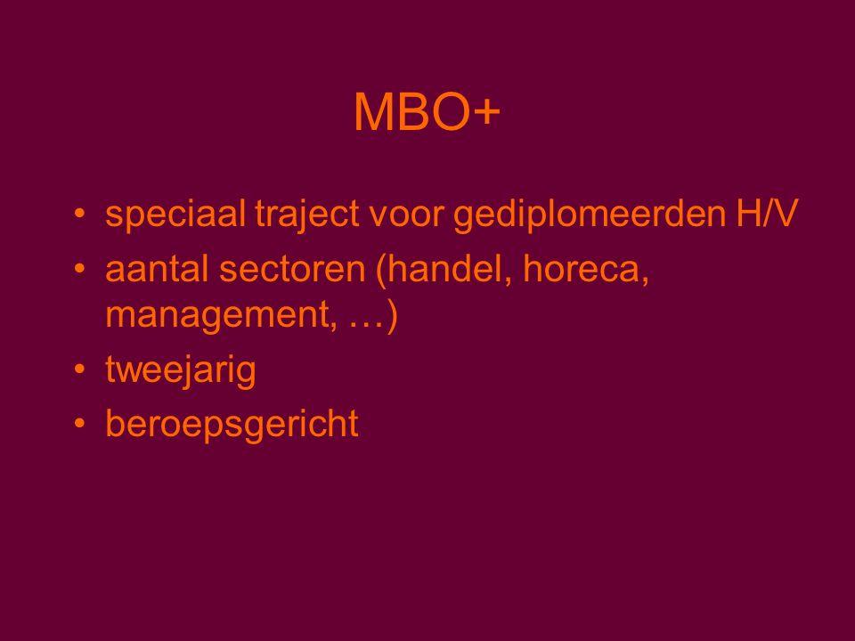 MBO+ speciaal traject voor gediplomeerden H/V aantal sectoren (handel, horeca, management, …) tweejarig beroepsgericht